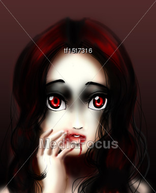 girl with blood covered mouth in dark background Stock Photo