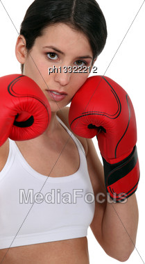 Girl Boxing Stock Photo