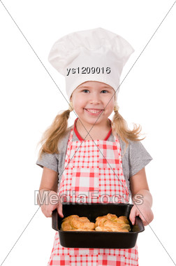 Girl In Chef's Hat With Baking Stock Photo