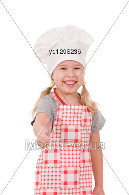 Girl In Chef's Hat Shows Ok Stock Photo