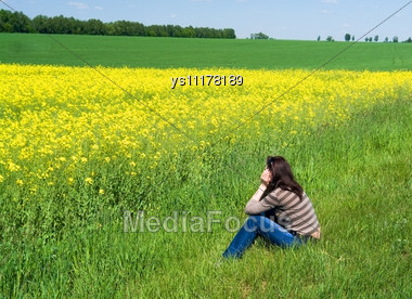 Girl Dreams Admiring Spring Landscape Stock Photo