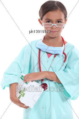 Girl Dressed As A Doctor Stock Photo