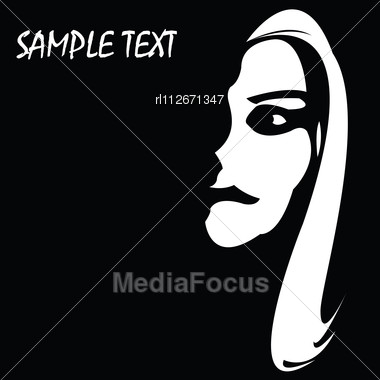 Girl Face With Sample Text On A Side, Background Illustration Stock Photo