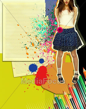 Girl With Fashion Skirt.Grunge Illustration With Papers Background And Colors Pencils For Text Stock Photo