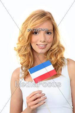 Girl Holding Dutch Flag Stock Photo