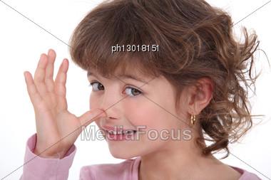 Girl Making A Mockery Stock Photo