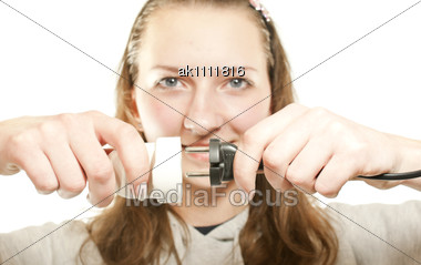 Girl Plugging (unplugging) Wires Stock Photo