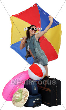 Girl Ready For Holidays At Beach Stock Photo