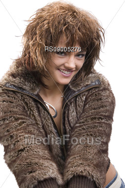 Girl with skin jacket Stock Photo