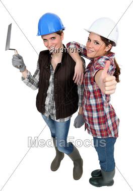 Girlfriends Ready For Masonry Work Stock Photo