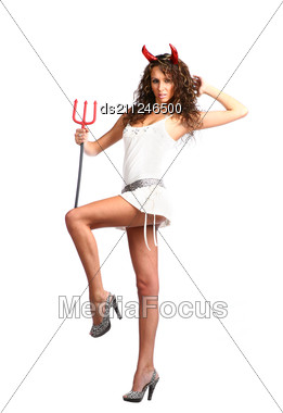 Glamour Devil - Sexy Brunette With Horns Smirking Stock Photo