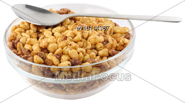 Glass Bowl With Cold Cereal Flakes. Isolated Over White Stock Photo