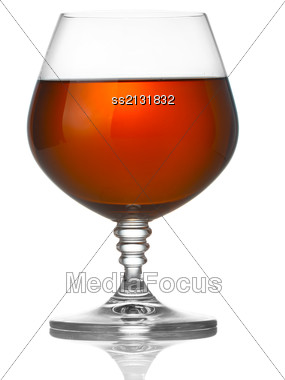 Glass Of Brandy Isolated On White Background Stock Photo