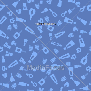 Glass Cosmetic Bottles Seamless Pattern Isolated On Blue Background Stock Photo