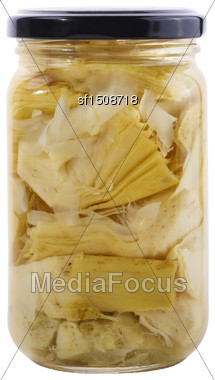 Glass Jar Of Preserved Artichokes Stock Photo