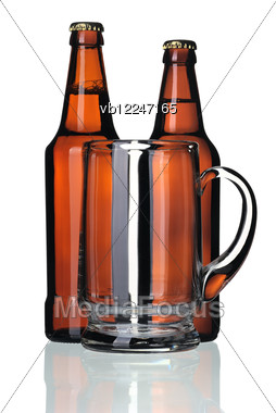 Glass Mug And Two Bottles Of Beer Stock Photo