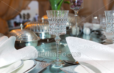 Glass On The Table Decorated For An Event Stock Photo