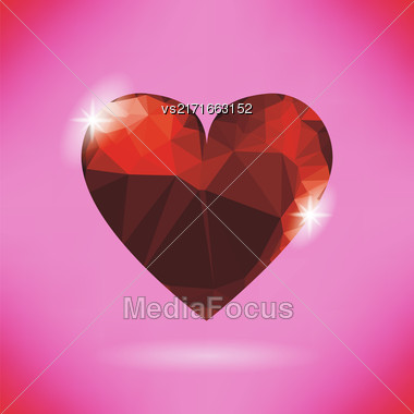 Glass Red Heart Isolated On Soft Pink Background Stock Photo