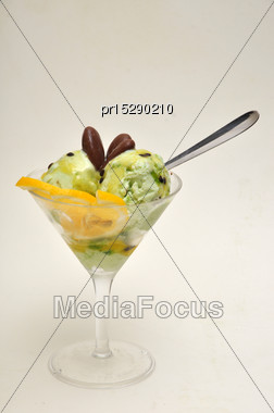 Glass Of Tempting Dessert On A Seamless White Background Stock Photo