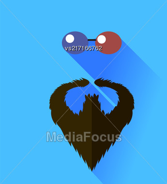Glasses And Beard Isolated On Blue Background Stock Photo