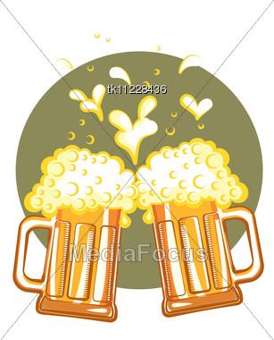 Glasses Of Beer.Vector Color Symbol Of Illustration For Design Stock Photo