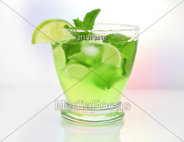 Glasses Of Cold Fruit Cocktail Stock Photo