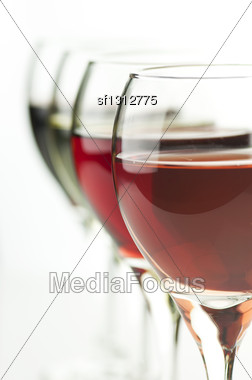 Glasses Of Pink , Red And White Wine , Close Up Shot Stock Photo