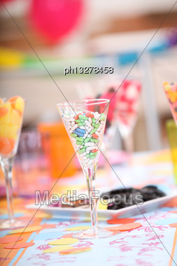 Glasses Of Sweets At A Child's Birthday Party Stock Photo