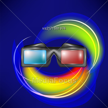 Glasses For Watching Movies On Blue Wave Backround Stock Photo