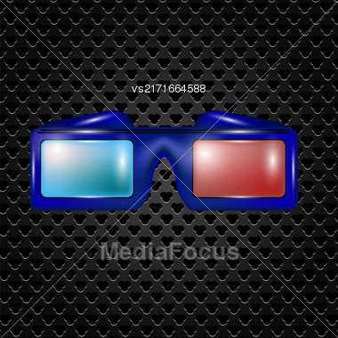 Glasses For Watching Movies Isolated On Dark Perforated Backround Stock Photo
