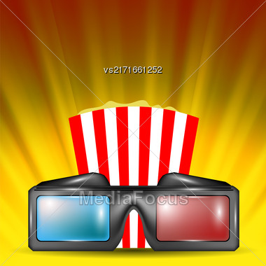 Glasses For Watching Movies On Orange Wave Backround Stock Photo
