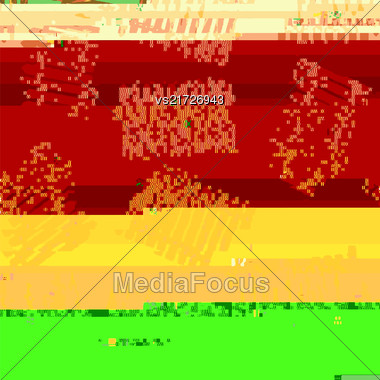 Glitch Colored Background. Data Decay. Digital Pixel Noise Texture. Television Signal Fail. Computer Screen Error. Abstract Grunge Wallpaper Stock Photo