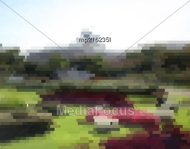 Glitch Vector Background. Digital Decay Image Data Distortion. Interference On The TV Screen And Monitor. Pixel Effect Stock Photo