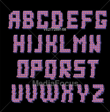 Glitched Colored Alphabet Isolated On Black Background. Trendy Style Distorted Lettering Typeface. Grunge Design Of Font Stock Photo