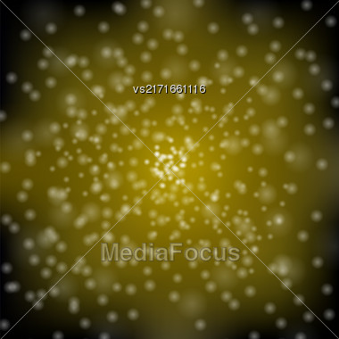Glitter Particles Background Effect. Sparkling Texture. Star Dust Sparks In Explosion On Yellow Background Stock Photo