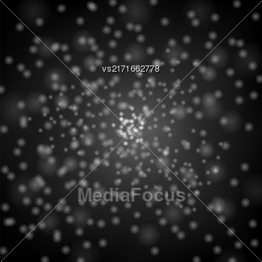 Glitter Particles Background Effect. Sparkling Texture. Star Dust Sparks In Explosion On Black Background Stock Photo