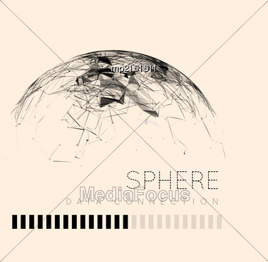 Global Communication In The Sphere Form. Stylized Planet. Vector Illustration Stock Photo