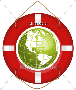 Globe And Lifesaver Stock Photo