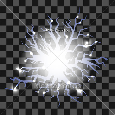 Glowing Lightning Cracks For Disaster Design Isolated On Checkered Background Stock Photo