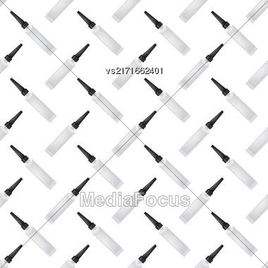 Glue Seamless Pattern On White. Set Of Plastic Glue Tubes Background Stock Photo