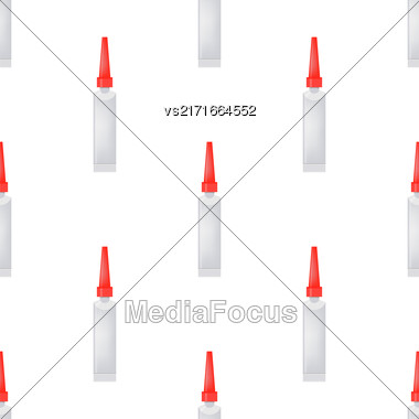 Glue Seamless Pattern On White. Set Of Plastic Glue Tubes Background Stock Photo