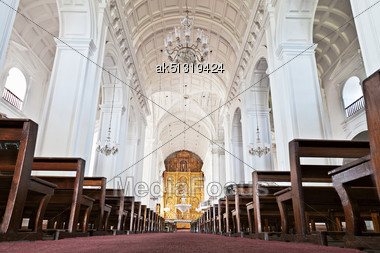 GOA, INDIA - NOVEMBER 14: Inside Se Cathedral In Old Goa, Goa, India, November, 14, 2012 In Goa, India Stock Photo