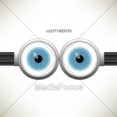 Goggle With Two Blue Eyes On White Color Background Stock Photo