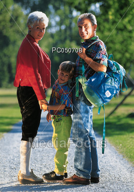 Going Hiking with Grandparents Stock Photo