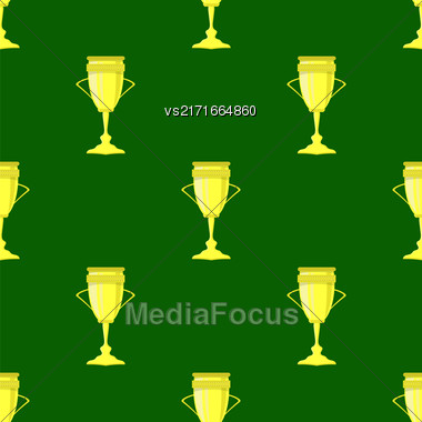 Gold Award Icon Isolated On Green Background. Sport Seamless Pattern Stock Photo