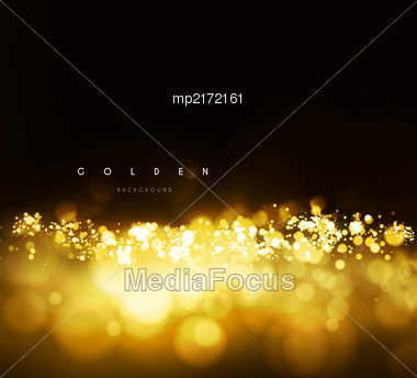 Gold Background With Bokeh. Vector Illustration On Dark Background Stock Photo