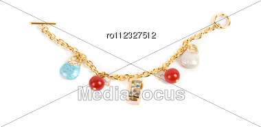Gold Bracelet With Pendent Elements Isolated Stock Photo