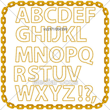 Gold Chain Alphabet Isolated On White Background Stock Photo