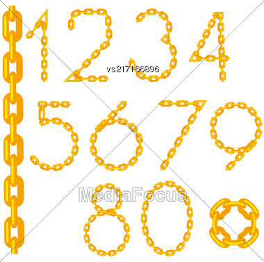 Gold Chain Number Collection Isolated On White Background Stock Photo
