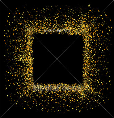 Gold Circle Frame Isolated On Black Background Stock Photo